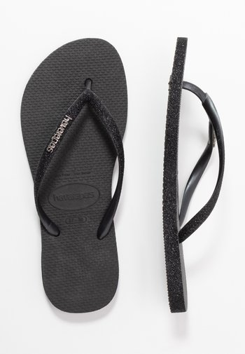 SLIM FIT SPARKLE - Sandály s odděleným palcem - black