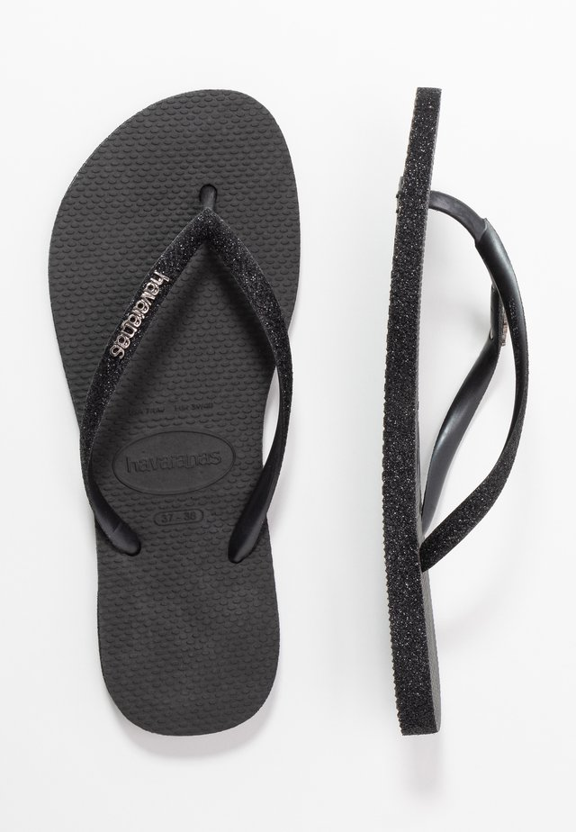 SLIM FIT SPARKLE - T-bar sandals - black