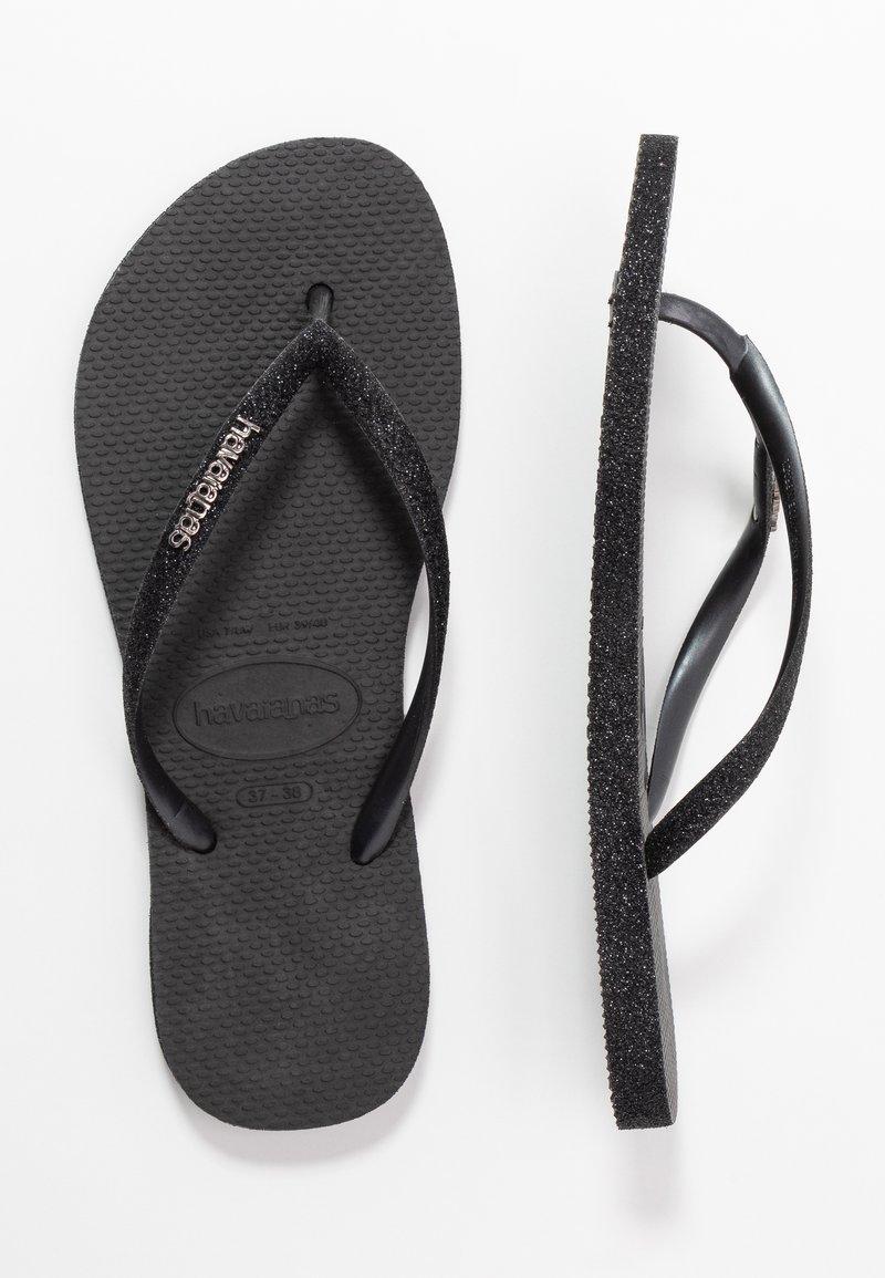 Havaianas - SLIM FIT SPARKLE - T-bar sandals - black