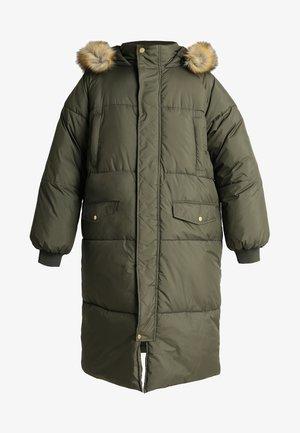 LADIES OVERSIZE PUFFER COAT - Winter coat - darkolive/beige