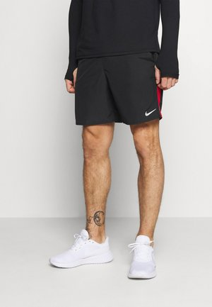 RUN SHORT - Korte sportsbukser - black/university red/reflective silver