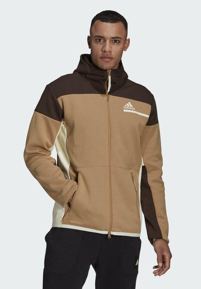 Zip-up hoodie - brown