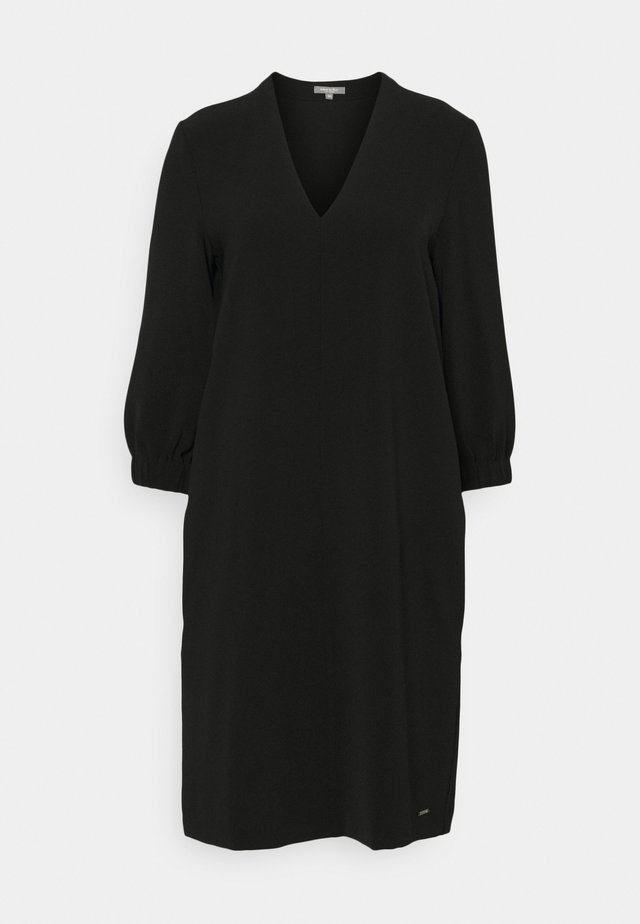 DRESS FEMININE SLEEVES ELASTIC - Denní šaty - deep black