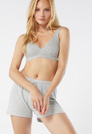 GERIPPTE SHORTS AUS MODALMIX - Pyjama bottoms - silver grey mel