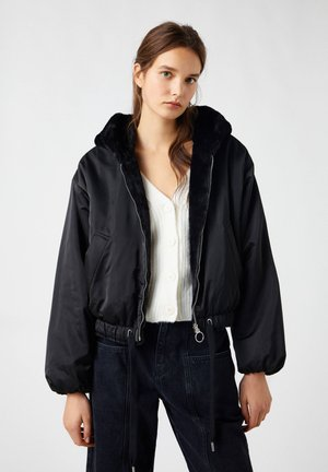 REVERSIBLE-BOMBERJACKE MIT FELL - Winter jacket - black