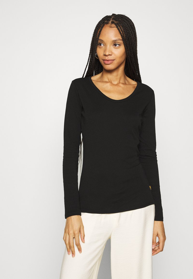 G-Star - CORE EYBEN SLIM U T WMN L\S - Long sleeved top - black