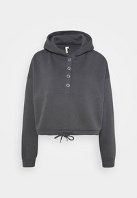 Nly by Nelly - BUTTON DRAWSTRING HOODIE - Hoodie - offblack - 3