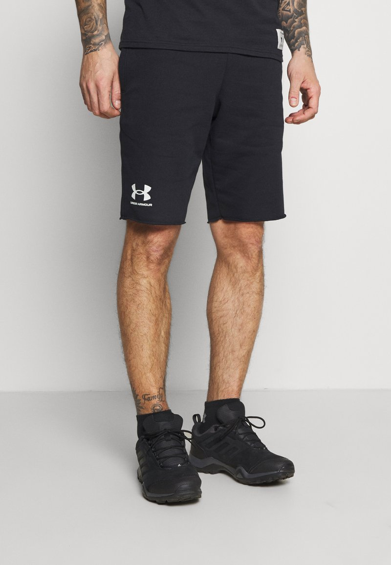 Under Armour - RIVAL TERRY SHORT - Sports shorts - black