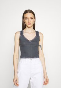 BDG Urban Outfitters - LOLA TRIM SOLID TANK - Top - washed black - 0