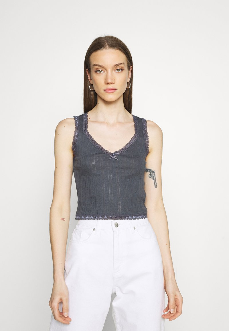BDG Urban Outfitters - LOLA TRIM SOLID TANK - Top - washed black