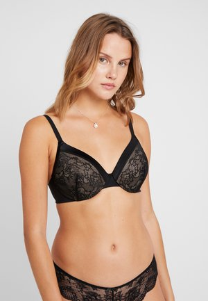 EXTRA COVERAGE UNDERWIRE BRA - Underwired bra - black/beige