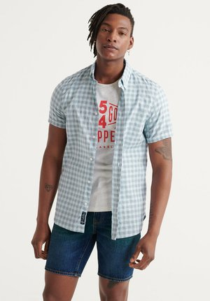 DOBBY - Shirt - blue micro grid check