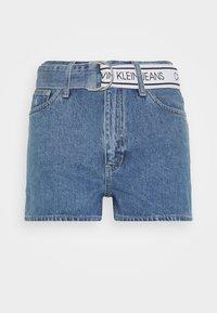 HIGH RISE - Denim shorts - light blue