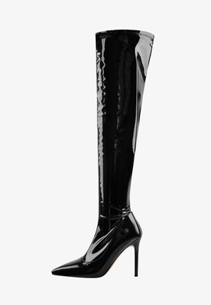 STRETCH OVER - Over-the-knee boots - metallic black