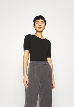 CREWNECK SHORT SLEEVE BODYSUIT - Basic T-shirt - true black