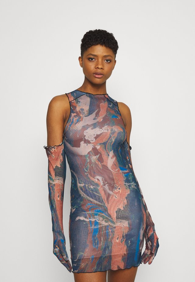 RUCHED SHIRT DRESS FAIRY STATUE PRINT - Robe fourreau - multi