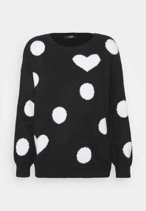 SPOT HEART SWEATER - Jumper - black