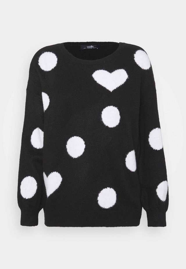 SPOT HEART SWEATER - Sweter - black