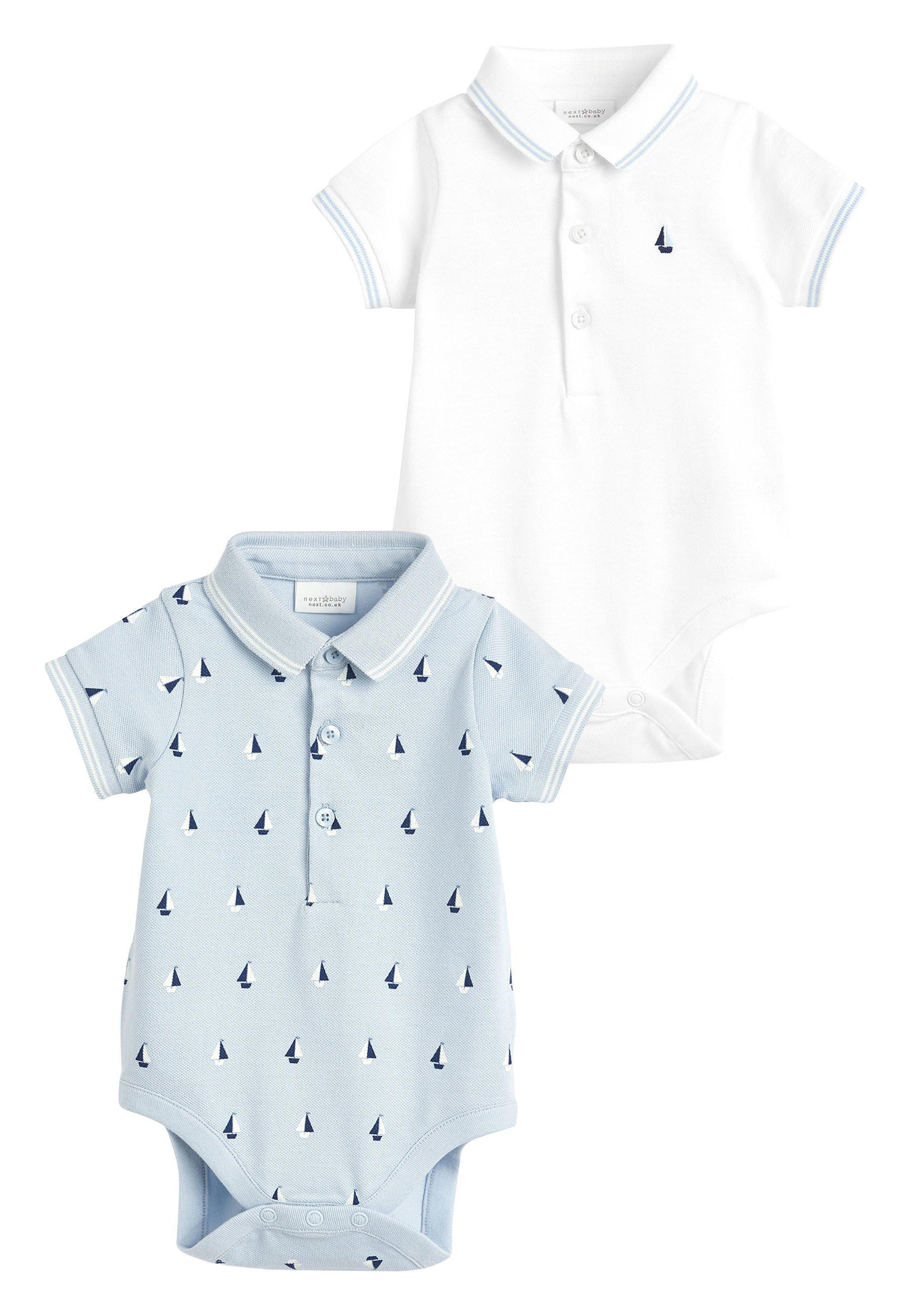 Kinder BLUE/WHITE 2 PACK BOAT POLO BODYSUITS (0MTHS-3YRS) - Poloshirt