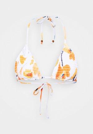 SUMMER MEMOIRS SHIRRED SLIDE - Top de bikini - white