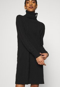 Tommy Jeans - TURTLE NECK DRESS - Strikket kjole - black - 3
