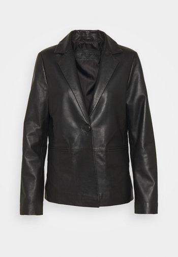 AMBER - Leather jacket - black