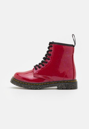 1460  - Lace-up ankle boots - bright red cosmic glitter