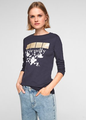 Long sleeved top - navy placed print