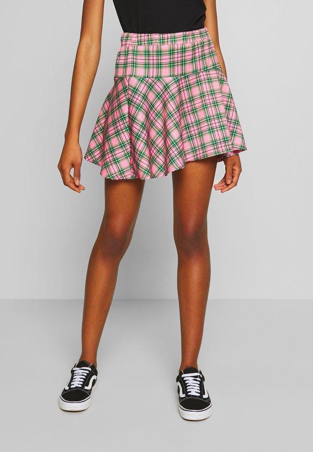 CHECK MINI SKIRT - Spódnica mini - pink