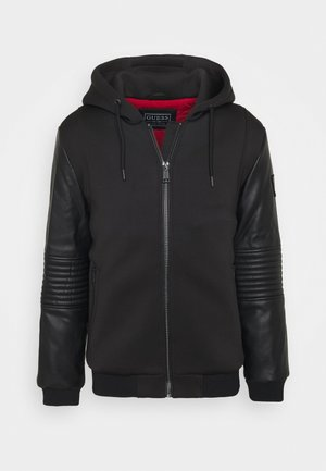 TECHNICAL HOODIE BOM - Faux leather jacket - jet black