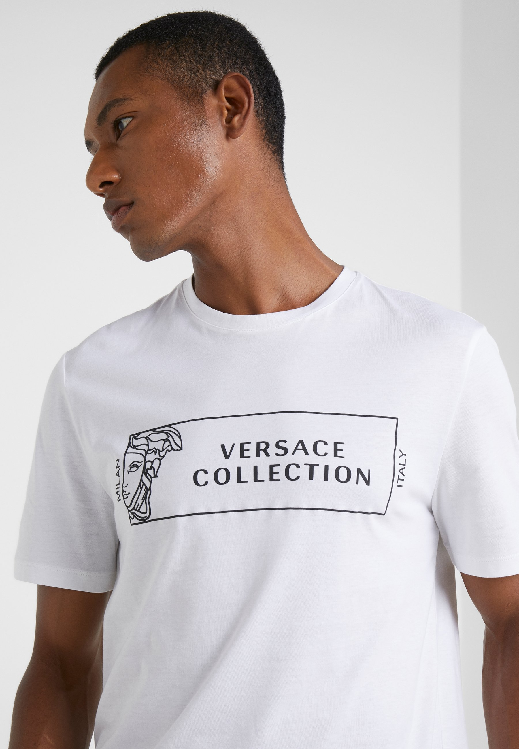 Versace Collection GIROCOLLO REGOLARE - Print T-shirt - bianco/nero BvFo7