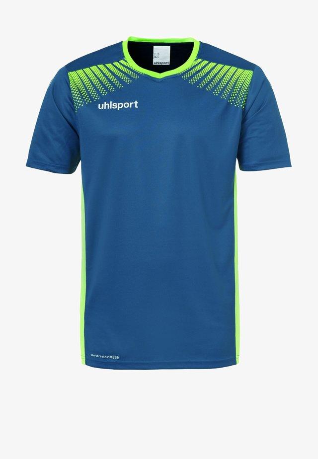 GOAL  - Print T-shirt - blue/neon green