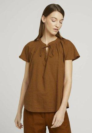 MIT LEINEN - Blus - caramel brown