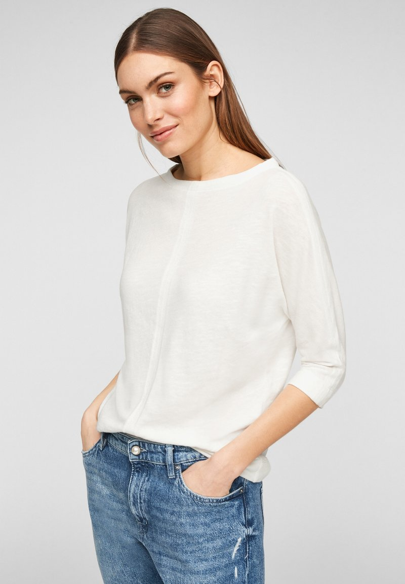 s.Oliver - MET 3/4-MOUWEN - Long sleeved top - offwhite