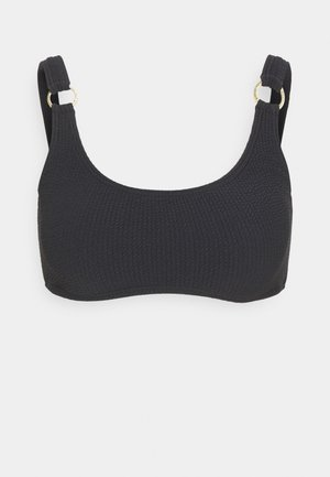 SOLID TEXTURE U NECK BRALETTE - Bikini top - black