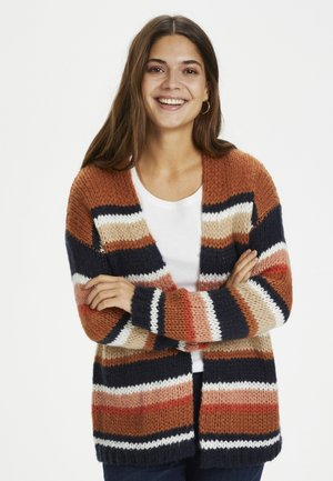 KAMERLA - Cardigan - brown / blue stripe