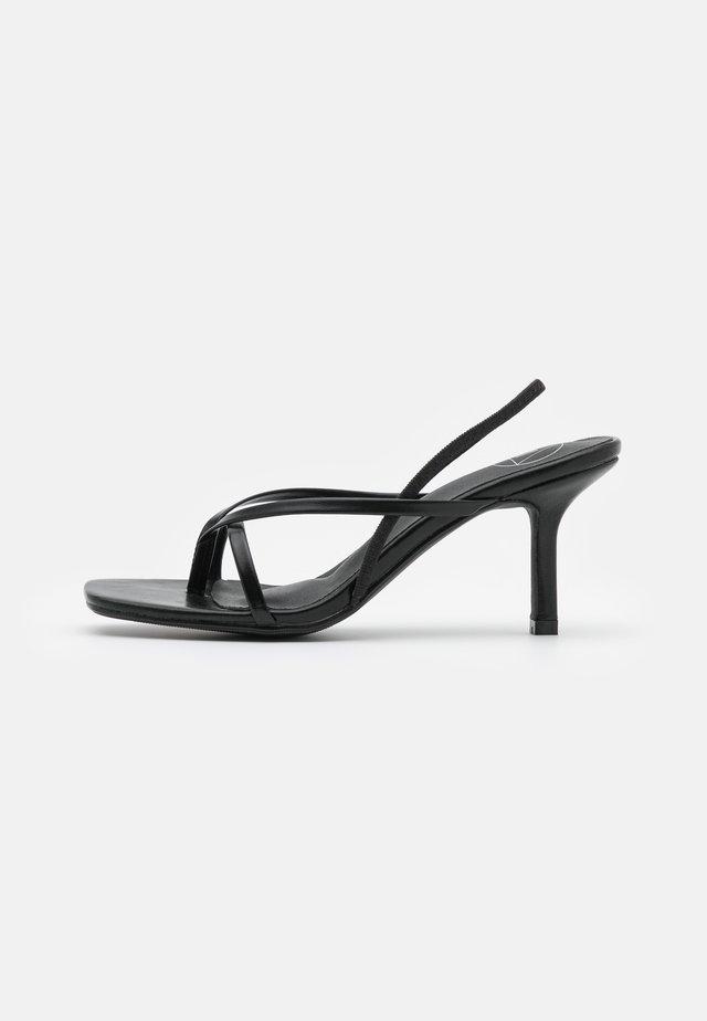 SLING BACK THONG DETAIL  - High heeled sandals - black