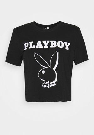 ONLPLAYBOY LIFE CROP - Print T-shirt - black