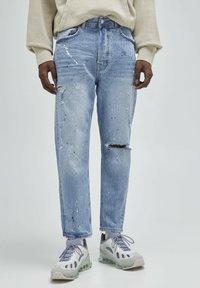 PULL&BEAR - Straight leg jeans - mottled dark blue - 0