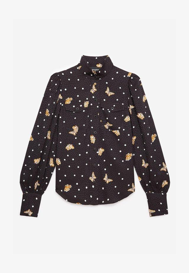 IMPRIMÉE À COL MONTANT - Button-down blouse - black