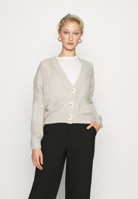 Dorothy Perkins - CABEL V NECK BUTTON FRONT CARDIGAN - Cardigan - grey marl - 0