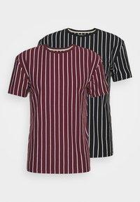 2 PACK - T-shirt med print - black / burgundy