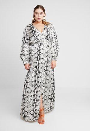 PLUNGE SNAKE PRINT DRESS - Maxi dress - grey