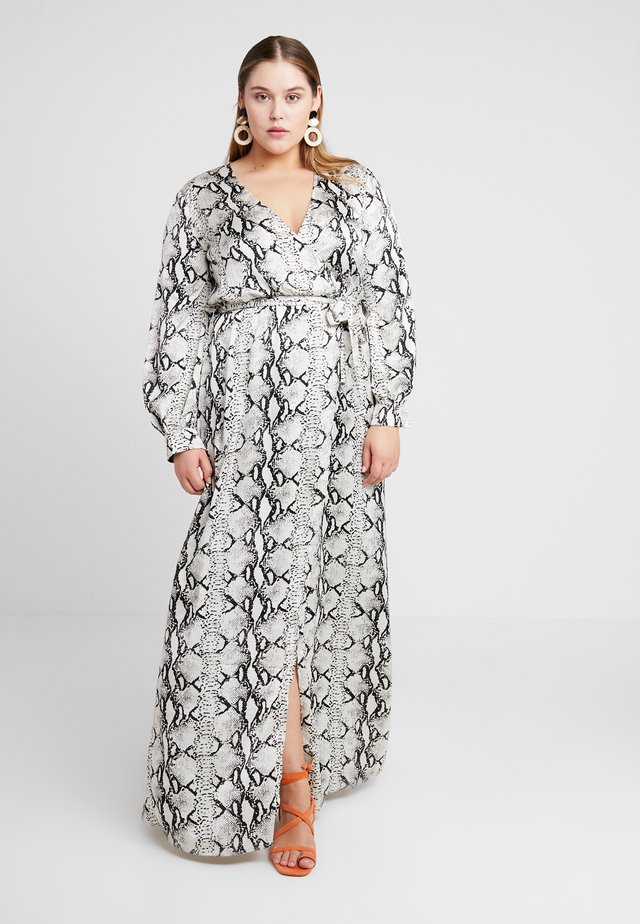 PLUNGE SNAKE PRINT DRESS - Robe longue - grey