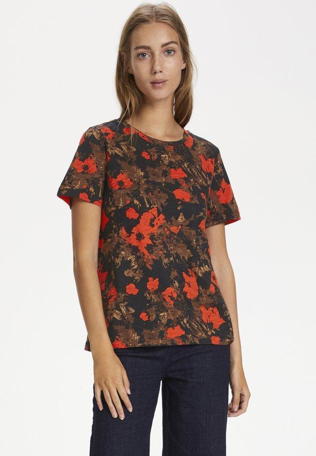 ALMAIW - T-shirt imprimé - orange forrest flowers