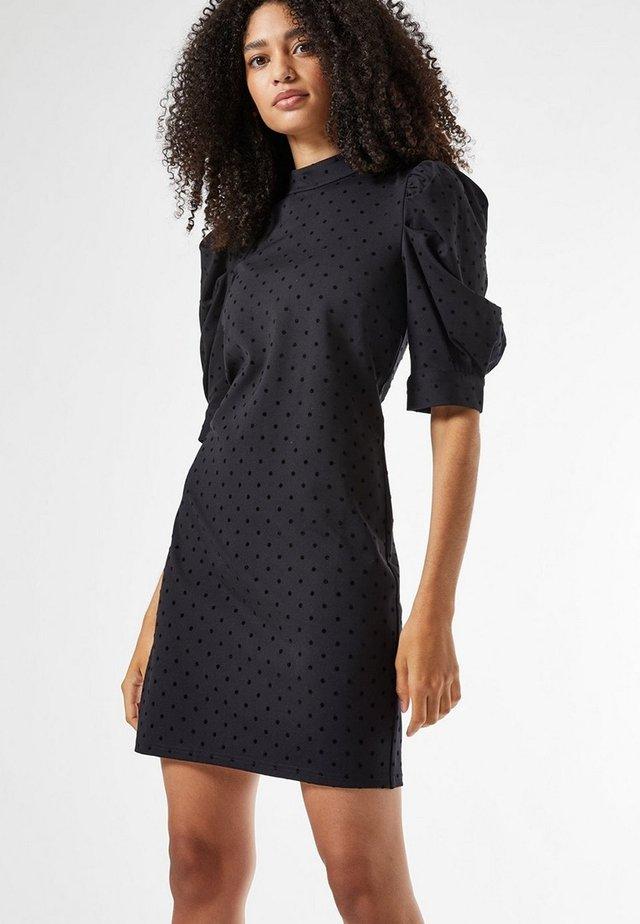 SPOT PONTE - Shift dress - black