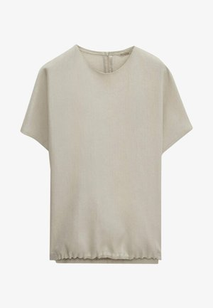 MIT VERZIERTEM SAUM LIMITED EDITION  - Basic T-shirt - beige