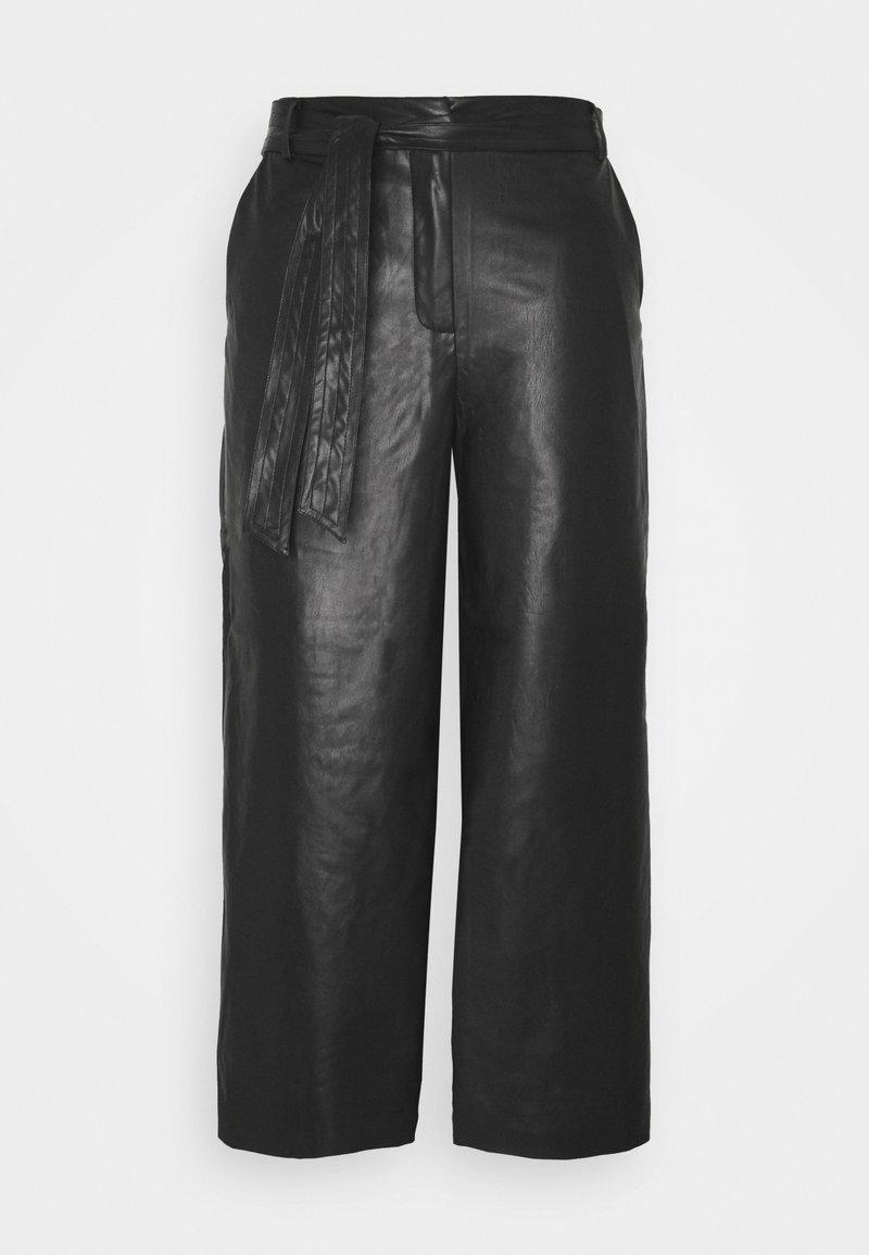 Vila - VIVIVI HWRE CROPPED COATED PANTS - Kalhoty - black