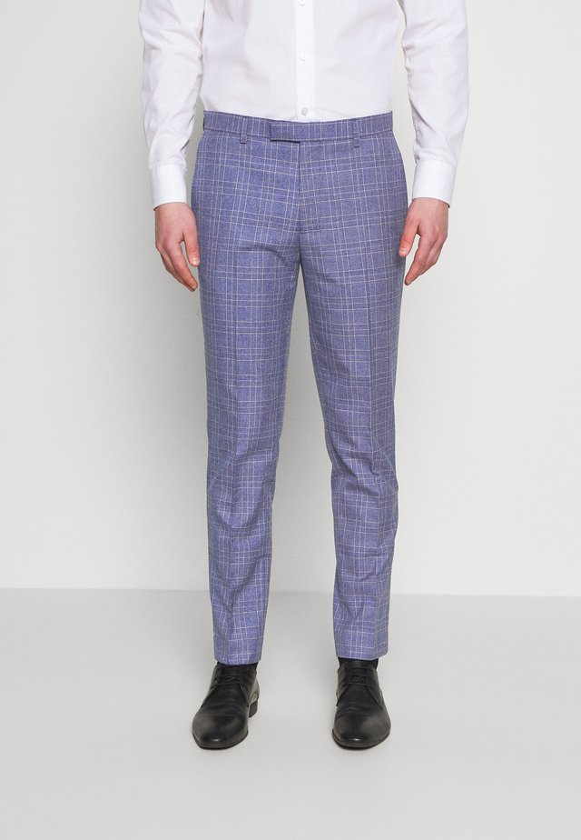 JASPE OVER CHECK TROUSER SLIM - Suit trousers - mid blue