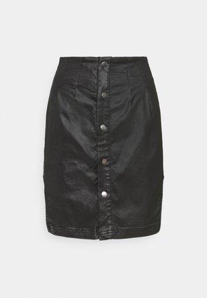 COATED CURVE HEM SEAM MINI SKIRT - Falda de tubo - black